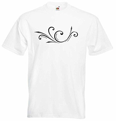 T-Shirt D453 T-Shirt Herren schwarz mit farbigem Brustaufdruck - Tribal Natur / filigrane Ranke mit Blättern und Punkten Mehrfarbig