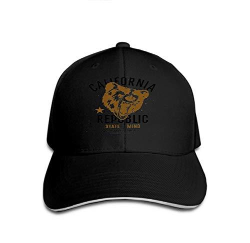 Xunulyn Adult Adjustable Structured Baseball Cowboy Hat Print California Republic Vintage Typography Head Grizzly Bear Black