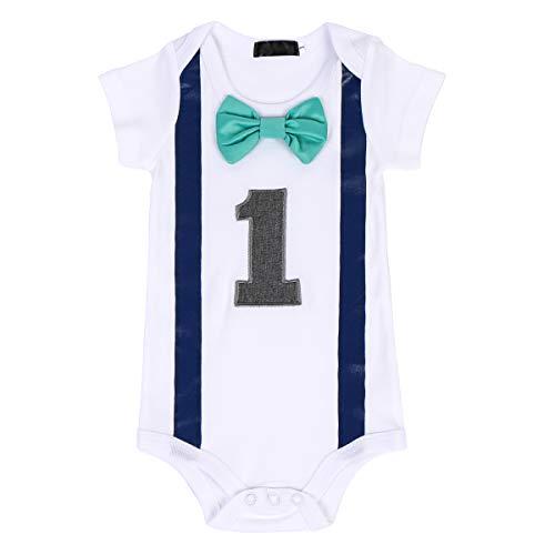 FYMNSI Kleinkinder Baby Jungen 1. Erster Geburtstag Bodys Gentleman Kostüm Fliege Strampler Einteiler Bodysuit Sommer Kurzarm T Shirt Overall 1 Jahr Party Baumwolle Babykleidung Blau + Grün