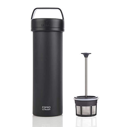 ESPRO 17677 Reise-French Press Ultralight, Mini Coffee Maker mit Thermo-Funktion, Kaffee, Edelstahl, to go, 475ml, schwarz