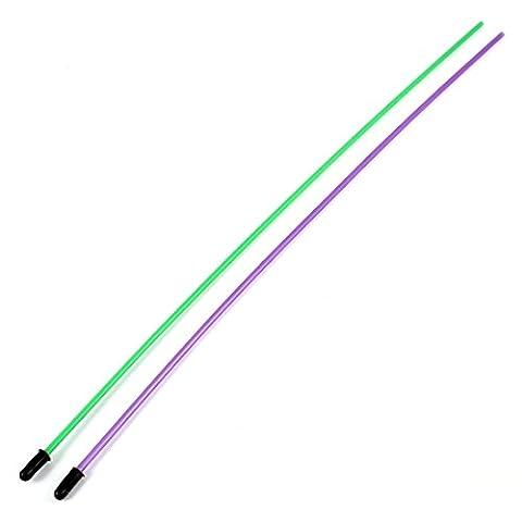 sourcingmap® 2 PIÈCES 1.5mm x 380mm Vert Violet Télécommande Modèle Antenne Voiture Tube