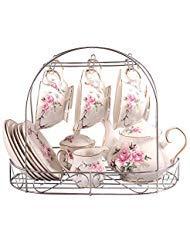 15 Stück Europäischen Stil Bone China Service Kaffee Set Mit Metall Ständer, Rosa Rose Druck Vintage Floral Teeservice, Für Hochzeit Und Haushalt
