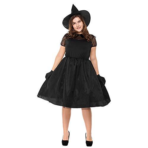 Xinvivion Damen Hexenkostüm, Spitze Tüll Kurzarm Schwarz Böses Spuk Mädchen Kleider Halloween Kostüm Outfit w/Hut, Gürtel und - Böse Mädchen Hexe Kostüm