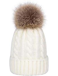 Amazon.es  gorros de lana con pompon de pelo - Blanco   Accesorios ... 4c4c89d22c3