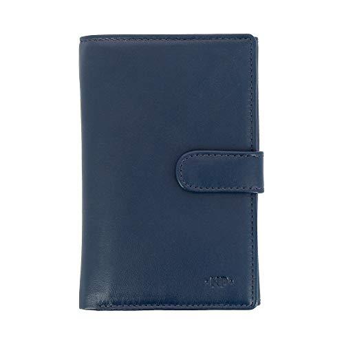 Nuvola Pelle Portefeuille Grand pour Femme en Cuir Nappa avec Bouton Porte-Monnaie et 12 Pochettes Porte-Cartes de crédit Bleu