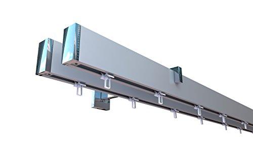 Innenlauf Gardinenstangen Set eckig, 2-läufig, Aluminium silbert eloxiert / verchromt, 240 cm, kurzer Träger