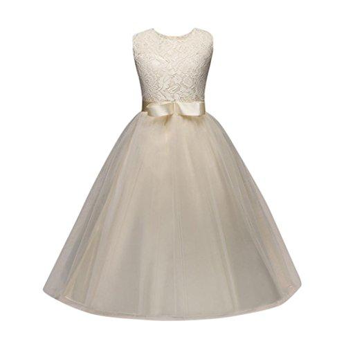❤️Kobay Blume Mädchen Prinzessin Brautjungfer Festzug Tutu Tüll-Kleid Party Hochzeit Kleid (Gelb-1, 130 / 5Jahr)