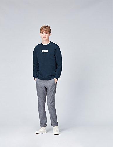 FIND Sweatshirt Herren aus Baumwolle mit Tokyo-Print Blau (Dark Denim 004)