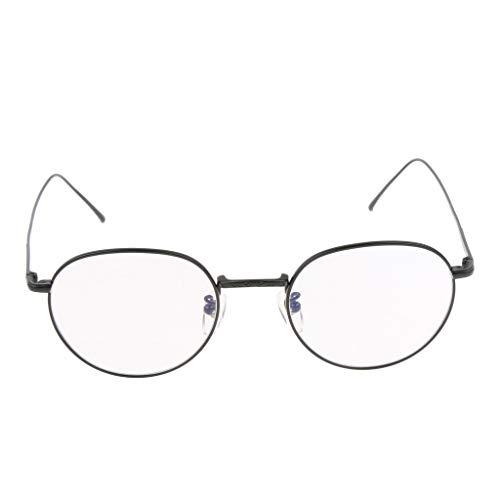 Fenteer Retro Pilotenbrille Metallgestell Gläser Aviatorbrille Dekobrille - Schwarz