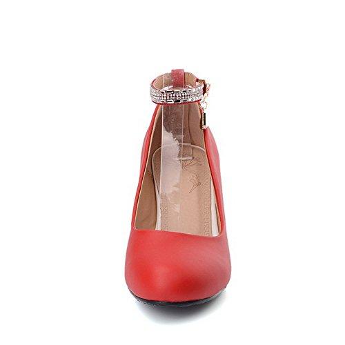 VogueZone009 Femme Matière Mélangee Rond à Talon Correct Boucle Chaussures Légeres Rouge