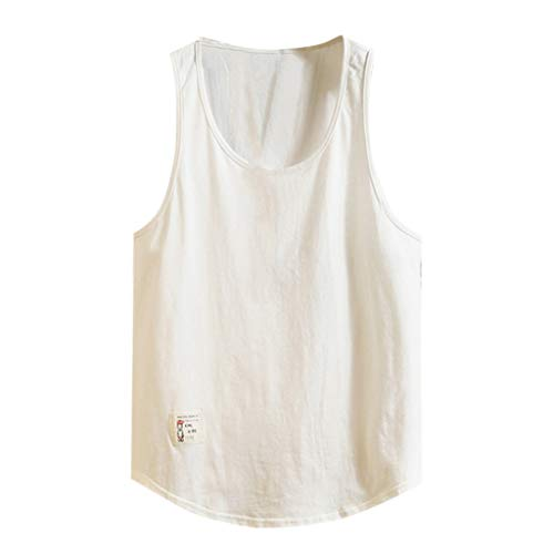 Knowin T-Shirt Männer Fitness lose Feste ärmellose Bodybuilding Rundhals Weste Tank Tops dünner Pulli Sweatshirt Langarmshirt Crew Neck | Jungen Unifarben T-Shirt Spleißfarbe Kurzarm Oversize -