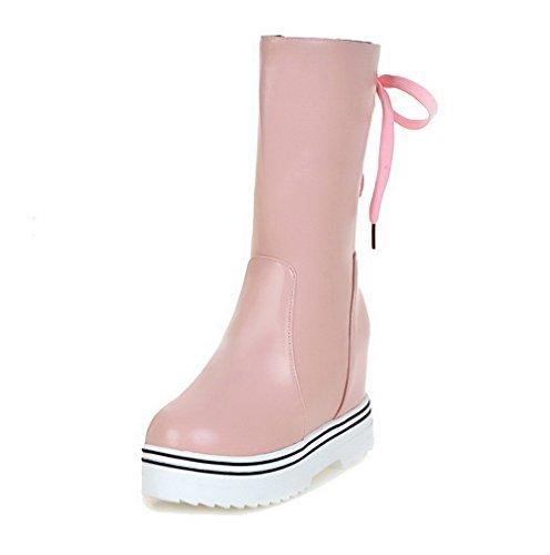VogueZone009 Donna Tacco Alto Bassa Altezza Luccichio Cerniera Stivali con Metallo Rosa