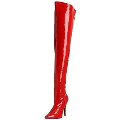 Pleaser Damen Seduce-3000 Langschaft Stiefel, Rot (Red Str Pat), 36 EU(6 US)
