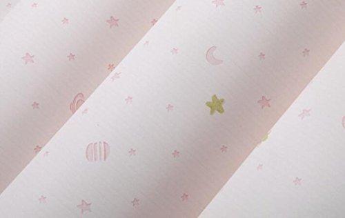 Mjhwsx Carta da parati Moderna non tessuto da parati La Luna e Stelle modello parete carta in rotolo per camera per bambini Blooming parete un rotolo 53 * 1.000 centimetri , pink , 53*1000cm