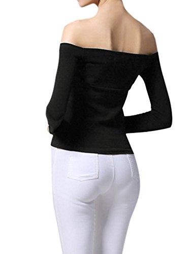 sourcingmap Femme épaule dénudée Nœud Buste élastique Haut Slim Noir