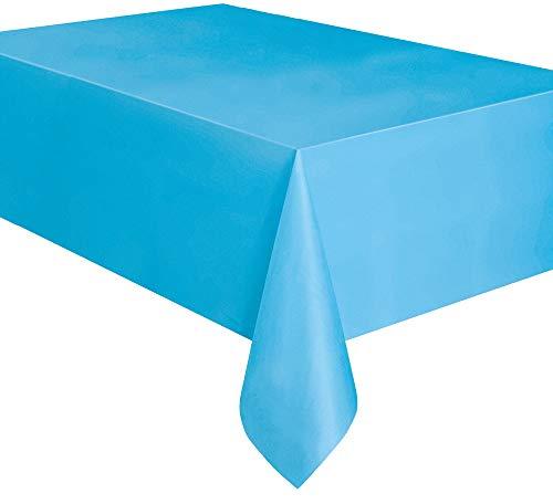 Unique party 50393 - tovaglia plastificata azzurro, 2,74 m x 1,37 m