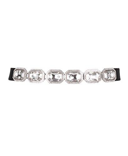 2221-BLKSIL-SM: Jewelled Elastic Waist Belt