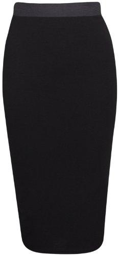 Damen Bleistiftrock Stretch enganliegend mittellang Röhre Wackel Stil fürs Büro - Schwarz, S/M 36/38 (Mittellange Röcke)