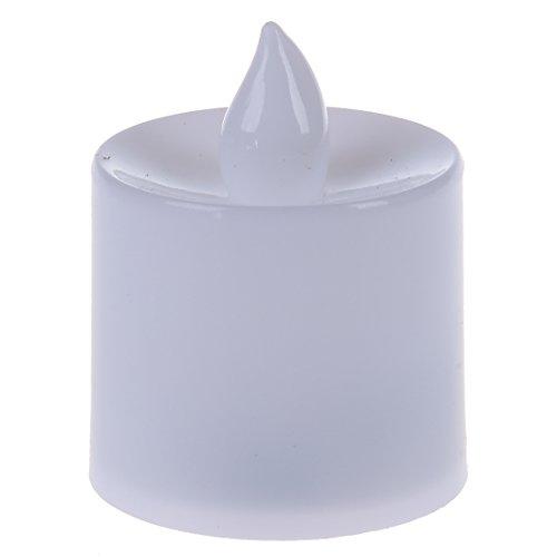Luz de vela - SODIAL(R) Juego de 12 Luz de te sin llama de velas parpadeantes LED Funcionamiento con pilas como el real velas parpadeantes Luz roja de boda