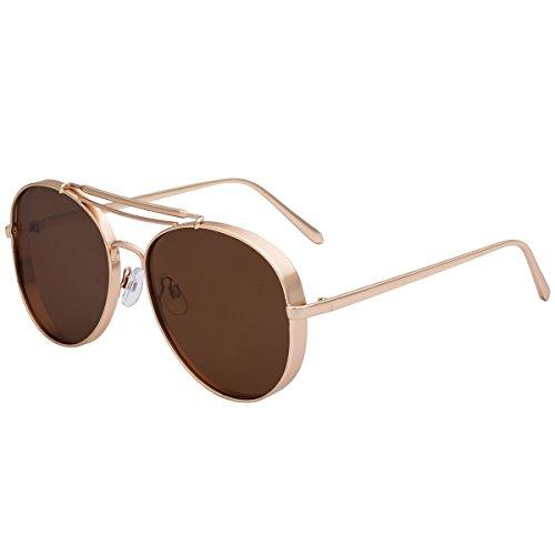 Full Metal Crossbar Flat Panel Objektiv Flieger Sonnenbrille für Damen und Herren 86713A Gold