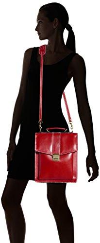 Chicca Tutto Moda Borsa da Uomo con Tracolla in 27x32x10cm in Vera Pelle Rosso
