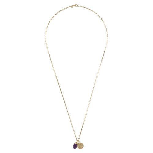 Etrusca Gioielli - Collana Donna Ragazza Ciondolo Ametista Moneta Antica Placcata Oro Giallo 18k