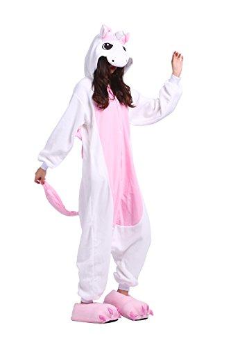 YUWELL Einhorn Kigurumi Pyjamas Kostüm Jumpsuit Tier Schlafanzug Erwachsene Cosplay Karneval Unisex, Rosa Einhorn L (Height:170-180cm) (Miss Match Kostüm)