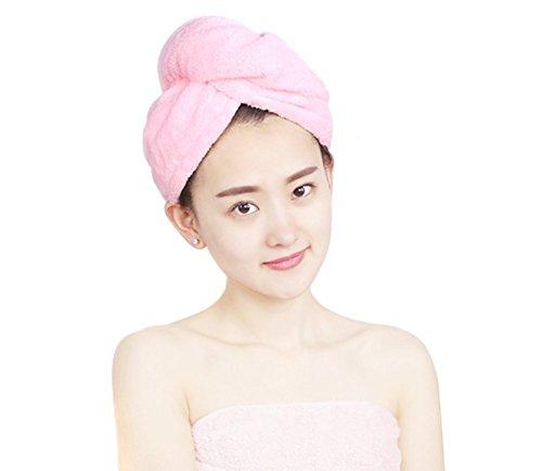Capelli Asciutti Cap doccia Hat capelli Super Assorbente in microfibra ad asciugatura rapida capelli Wrap Turbante Cappello Stile per Donne e Lady (Confezione da 2rosa + verde)