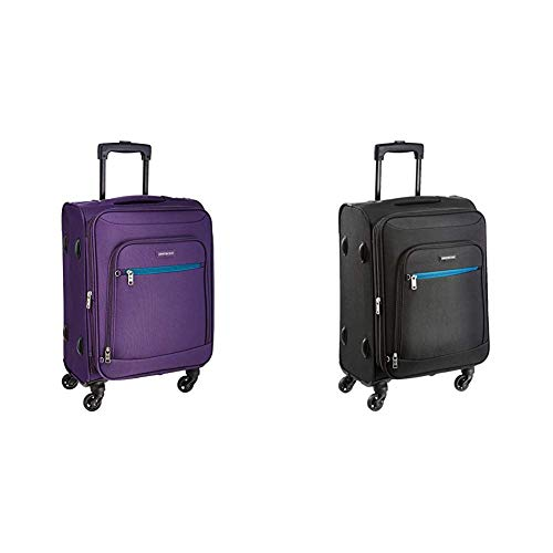 Aristocrat Nile Polyester 54 cms Purple Soft Sided Carry-On + Nile Polyester 54 cms Black Soft Sided Carry-On (STNILW54PPL + STNILW54BLK)