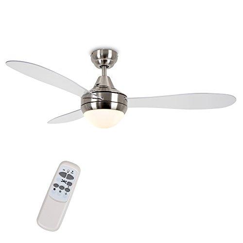 MiniSun - Ventilatore da soffitto moderno con luce, Denver\' - di grandi dimensioni (122cm) - con 3 pale trasparenti, finitura cromata spazzolata ed un telecomando pratico