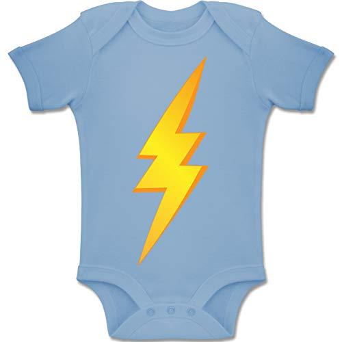 Drei Lustige Kostüm Mädchen Für - Shirtracer Karneval und Fasching Baby - Blitz Kostüm - 3-6 Monate - Babyblau - BZ10 - Baby Body Kurzarm Jungen Mädchen