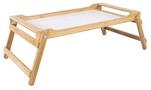 elbmöbel Betttablett Bambus Betttisch mit klappbaren Beinen Serviertablett für Frühstück als Beistelltisch und Knietisch pflegeleicht und abwaschbar (60x35x21)