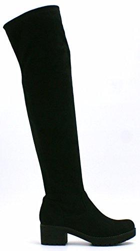 Pour Femmes Faux Daim Au Dessus Du Genou Taille Haute Fermeture Éclair Talon Bloc Plateformes Bottes Extensibles - P70 Daim Noir