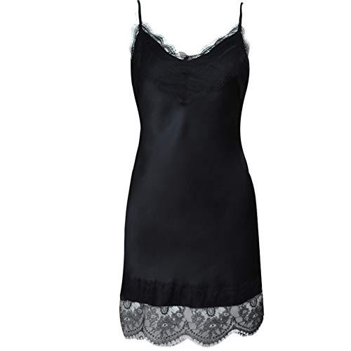 Jessica Schlafanzug DamenSilk Nachtwäsche Für Frauen Lace Lounge Dress, Schlafröcke, Die Außerhalb Getragen Werden Können,Black,M