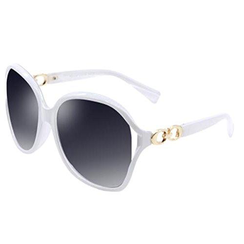 LQQAZY Subtropische Sonnenbrille Weiblich Elegant Hipster Sonnenbrille Rundes Gesicht Sauber Stilvoll Sonnenbrille,White