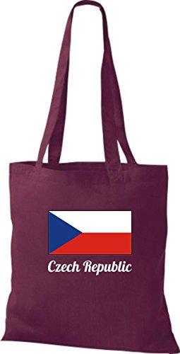 Camicia In Cotone Borsa In Cotone Country Jute Repubblica Ceca Colore Ceco Vino Rosso Oliva