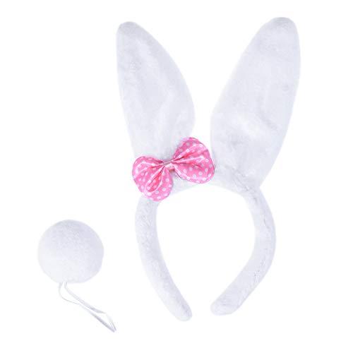 BESTOYARD Disfraz de Conejo Diadema con Orejas de Conejo de Peluche y Cola de Pom Pom Bola para Niña Bebé Blanco