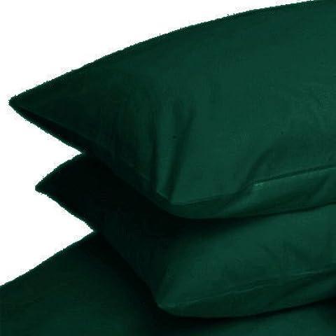 Coppia di federe in policotone liscio - in cotone percalle 180 fili, Verde foresta, 50x75cm