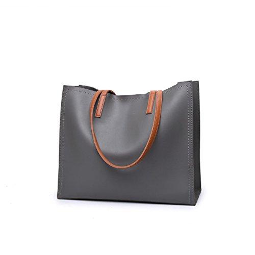 GSHGA Borsette Designer Per Donna Borse In Pelle Ladies Borse A Tracolla Borse Grande Tote Semplice Ed Elegante,Black Grey