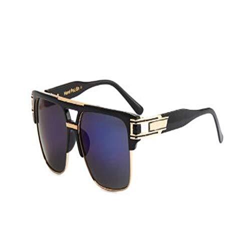 Klassische Sportsonnenbrille, Top Quality Men Sunglasses NEW Big Square Semi Rimless Sun Glasses Men Luxury Unisex UV Occhiali Da Sole dark blue lens