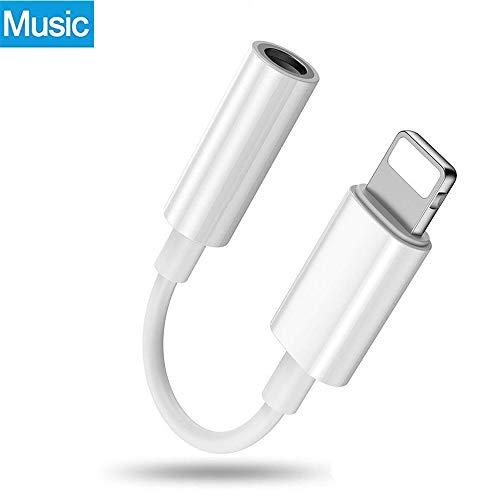 Luvfun Adaptador Auriculares Adaptador de Audio a 3.5mm Auriculares Jack Adaptador para iPhone,iPad - Blanco