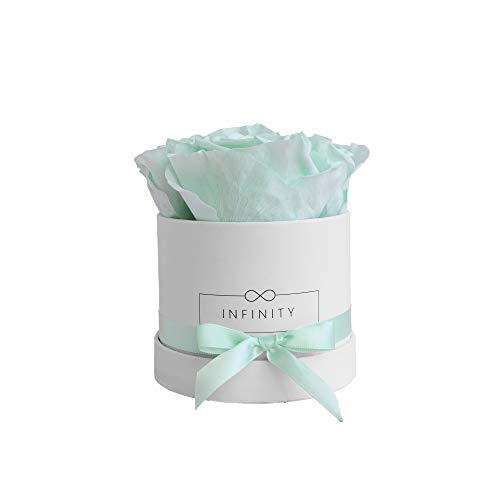 Infinity Flowerbox Small (Weiß) - 4 echte Premiumrosen in Cool Mint -