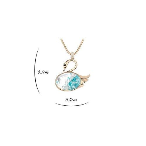 DEPOT TRESOR Collier long plaqué or en forme de cygne avec cristal Swarovski element NEUF Livraison gratuite Couleur - Multi couleur Turquoise