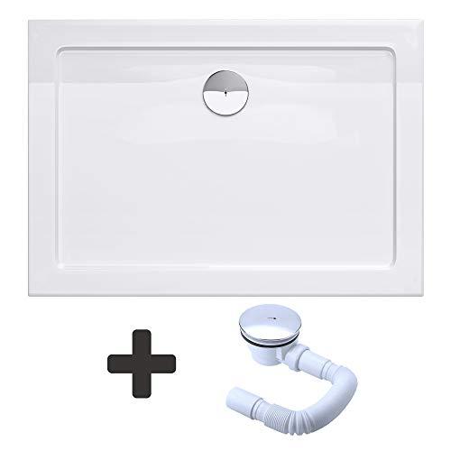 Sogood Duschtasse Duschwanne Faro2W 100x120x4 flach inkl. Ablaufgarnitur aus Acryl in Weiß Rechteckig DIN-Anschlüsse für bodenebene Montage geeignet