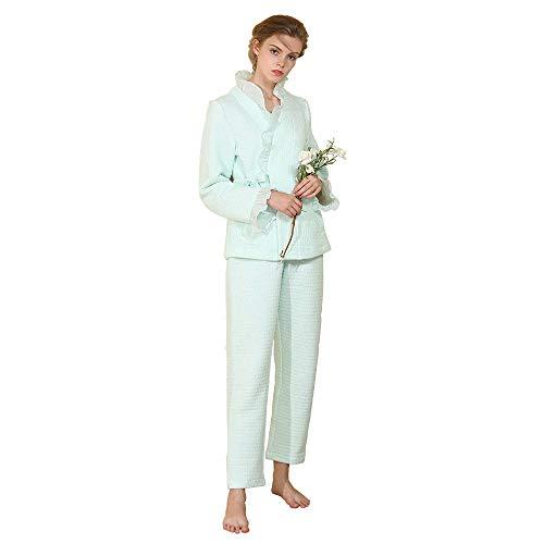 (Yvelands Lange Ärmel Pyjama verdickt atmungsaktiv warm gepolsterte Baumwolle für Damen Pyjamas(Grün,CN-L))