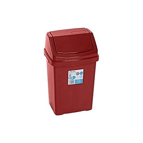 Wham High Grade Plastic Chilli Red Flip Top Waste Rubbish Kitchen Bin Dustbin (Small - 8 Litre)