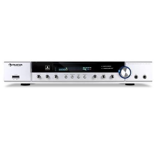 Auna AMP-2520-S sintoamplificatore surround ricevitore audio 5.1 multifunzione (400 Watt di potenza, radio FM, 2 RCA, DVD, home cinema, funzione karaoke, 2 ingressi microfono) - argento
