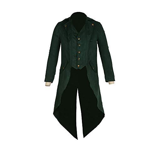 Herren Steampunk Vintage Frack Jacke Gothic viktorianischen Kleid schwarzer Mantel Smoking Uniform Halloween-Kostüm,Green,XXXL