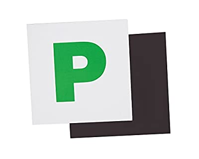 Fully Magnetic Green P Plates 2 Pack, Extra Strong Stick On for New Learner Drivers by Ouway