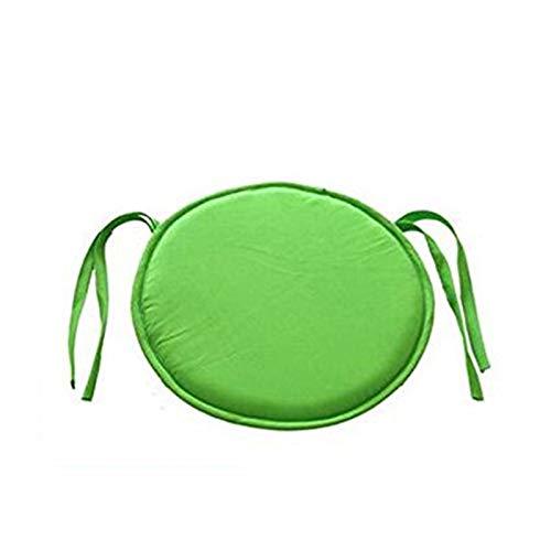 TONGHENG Esszimmerstuhl-Polster, rund, rutschfest, Memory-Schaum, Sitzkissen mit Bändern für drinnen und draußen, für Gartenmöbel, Zuhause, Büro grün